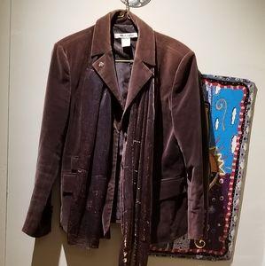 Brown Velvet Blazer (Size 8)